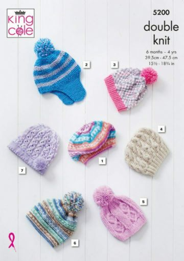 King Cole Babies and Childrens Hats Knitting Pattern , 5200